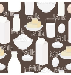 Dairy products seamless background vector image