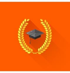 graduate cap with laurel wreaths educational vector image vector image