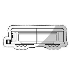locomotive train transport cargo cut line vector image