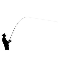 the black silhouette of a fisherman vector image vector image