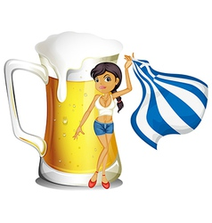 A girl holding the flag of Greece in front of a vector image