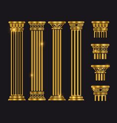 ancient rome architecture column set vector image