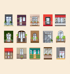 balconies set collection with building facade vector image vector image