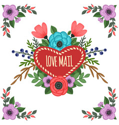 heart-shaped frame with ornament vector image