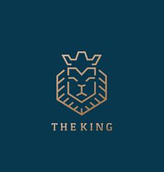 The king lion face line style abstract sign vector