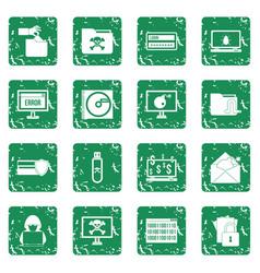 criminal activity icons set grunge vector image