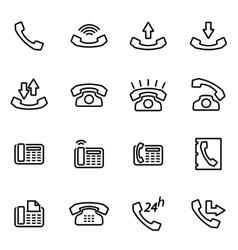 line telephone icon set vector image vector image