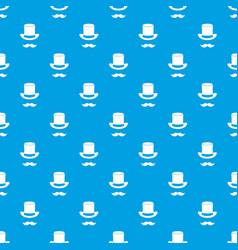 magic black hat and mustache pattern seamless blue vector image vector image