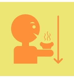 man drinking hot bring down a fever vector image vector image
