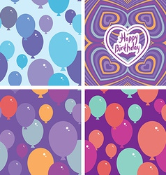Set 3 Seamless pattern with balloons and happy vector image vector image