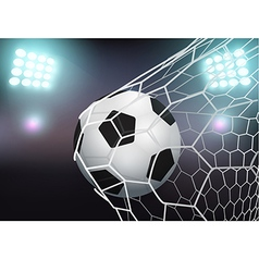 Soccer ball in the goal net on stadium with light vector image vector image