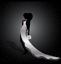beautiful silhouette of a girl vector image vector image