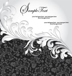 black and silver invitation card vector image