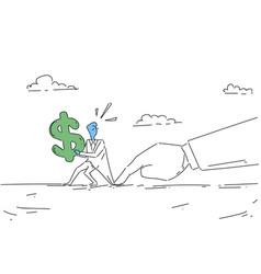 businessman hand hold dollar sign problem vector image