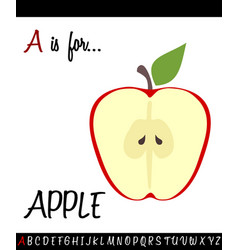cartoon of capital letter a with apple for vector image vector image