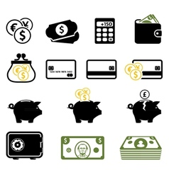 Finance symbols set vector image vector image