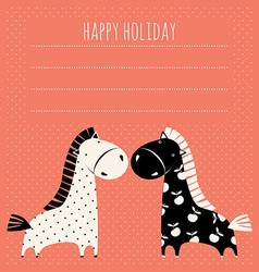 greeting card with cute pony vector image vector image