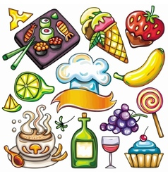 ready-to-eat food icons vector image
