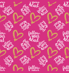 seamless pattern from hearts on pink vector image vector image