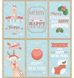 Set of six Christmas greeting cards vector image