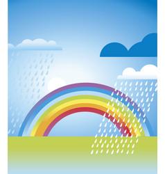 simple rainbow landscape in vivid color vector image vector image