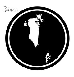 white map of bahrain on black circle vector image vector image