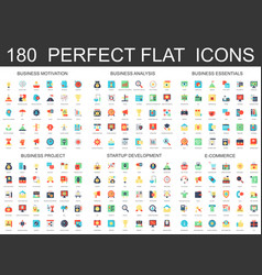 180 modern flat icons set of business analysis vector