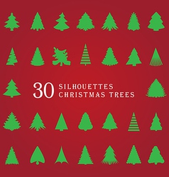 30 silhouettes of Christmas trees vector image