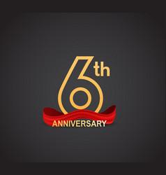 6 anniversary logotype design with line golden vector