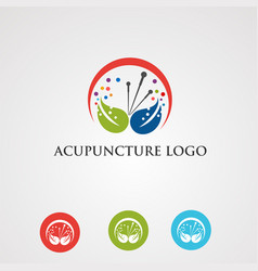 Acupuncture logo with leaf and digital concept vector