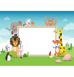 Animal cartoon frame border template vector