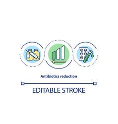 Antibiotics reduction concept icon vector