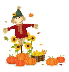 Autumn harvesting with cute scarecrow and pumpkins vector