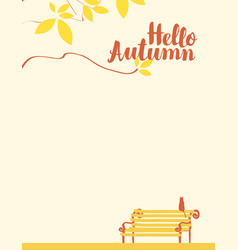 autumn landscape with tree cat and bench vector image