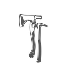 axe and hammer isolated on white background vector image