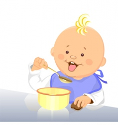 baby eats with a spoon vector image