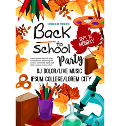Back to school party invitation poster vector