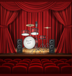 Background with drum kit on empty stage vector