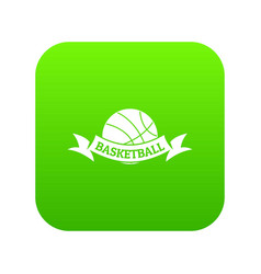 basketball icon green vector image