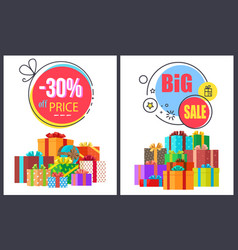 Big sale -30 off round labels with gift icons set vector
