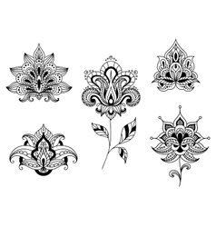 Black and white floral motifs of persian paisleys vector image