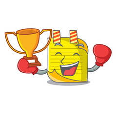 Boxing winner mascot note paper with bookmark vector