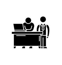 business mentor black icon sign on vector image