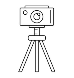 Camera on tripod icon outline style vector
