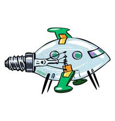 Cartoon image of lightbulb rocket ship vector