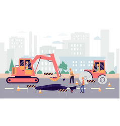 Cartoon people fixing hole on highway - industrial vector