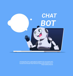 Chat bot service cute robot in laptop computer vector