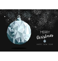 Christmas silver bauble ornament greeting card vector