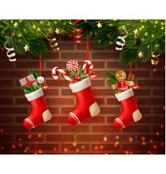 christmas socks wall composition vector image