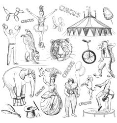 Circus performance decorative icons set vector